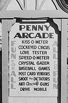 1940s Penny Arcade Sign from Oregon, listing their coin-op games.