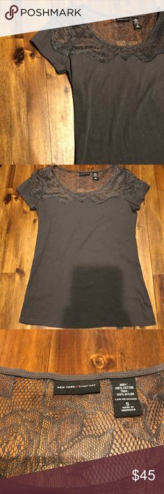 Pretty New York and Co. Lacey Top Excellent used condition. Beautiful dresses up or down. Feel free to make an offer. From a pet and smoke free home. New York & Company Tops