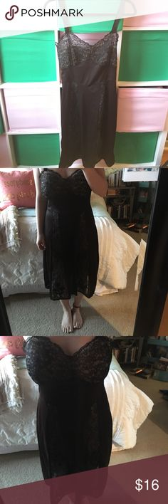 Vintage silk neglige nightgown slip with lace Beautiful paneled lace inset with rose on chest. Straps are beautiful and only flaw is shown in the last photo. Beautiful to wear out, under clothes, or to bed. Lounge and read a jane austin novel. Doesnt have size tag but can fit up to a size 8. I am a 36d cup Intimates & Sleepwear Chemises & Slips