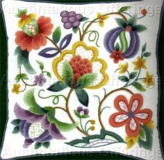 MICHAEL LECLAIR BEADED JACOBEAN CREWEL EMBROIDERY PILLOW KIT CONTEMPORARY COLORS