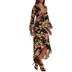 Charlotte Russe Black Combo Long Sleeve Floral High-Low Maxi Dress by... ($40) ❤ liked on Polyvore
