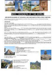 English worksheet: NEW 7 WONDERS OF THE WORLD (Part I)