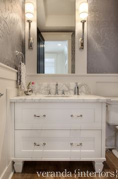 Powder Room. Powder Room Wallpaper Ideas. Powder Room wallpaper is by Cole & Sons. #PowderRoom #PowderRoomWallpaper  Veranda Estate Homes & Interiors