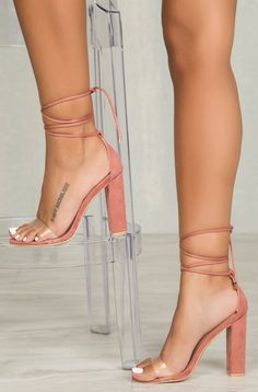 Wicked Lace Up Block Heel (Blush)