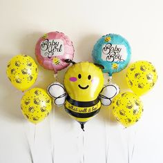 Free Shipping What will it Bee mylar latex balloon kit bumblebee - baby shower gender reveal birth announcement - blue pink silver