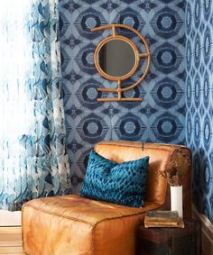 This geometric bohemian wallpaper features circular shapes that look like suns created by ancient Aztec art. Order a sample today! Bohemian Wallpaper, Geometric Wallpaper, Bohemian Interior, Interior Styling, Ancient Aztecs, Aztec Art, Designer Ties, Blue Home Decor