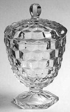 Fostoria American-Clear (Stem Hex Footed Candy Dish, Lid Only Fostoria Glassware, Fostoria Crystal, Antique Glassware, Cut Glass, Glass Art, Fostoria American, Vintage Dishes, Vintage Pyrex, Glass Company
