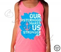 Delta Gamma Stronger Neon Tank -ΔΓ Collection. Design Exclusive to BoutiqueGreek.com
