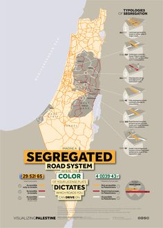Cars with Palestinian license plates are not allowed on Israeli roads, regardless of the identification held by the driver. Even on Palestinian roads, cars with Palestinian plates have restricted access, face endless delays at checkpoints and are subject to regular road blocks. Cars with Israeli plates experience none of these difficulties. The infographic 'Segregated Roads' invites the viewer to imagine a road system in which the color of your license plate determines your mobility.
