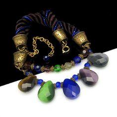 Vintage Chunky Glass Crystal Beads Necklace Blue Green Purple Dangles.  MyClassicJewelry.  Etsy