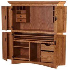 Beau Mission Armoire Desk, Medium Oak From Erik Organic