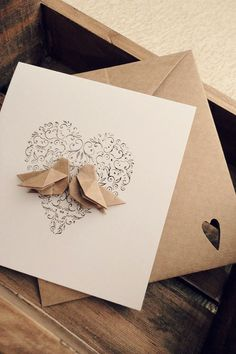 Origami Lovebird Card for save the date?