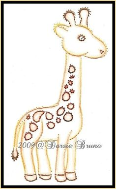 Margaret the Giraffe Paper Embroidery Pattern for Greeting Cards