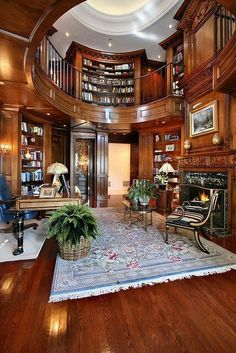 Trendy Home Library Study Office Ideas Study Room Design, Home Library Design, Home Office Design, Home Interior Design, House Design, Dream Library, Mansion Interior, Office Designs, Luxury Interior