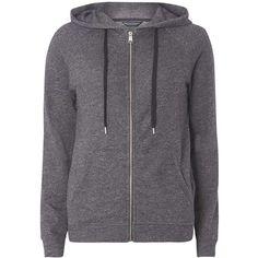 Dorothy Perkins Charcoal Zip Through Hoodie (€33) ❤ liked on Polyvore featuring tops, hoodies, jackets, outerwear, shirts, grey, zip hoodie, grey hoodie, zipper hoodie and gray hooded sweatshirt