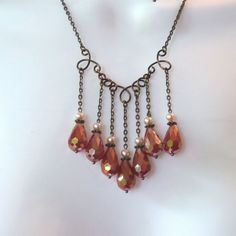 RESERVED for fairyviewroad - Chandelier Fringe Necklace Set - Red Orange Crystal Teardrops - Wire Work Focal - Antique Bronze