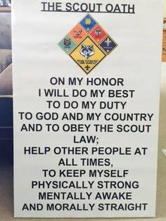 For new requirements for CUB SCOUT PACKS Made at vistaprint.com. Size 24x36 Poster size. Then mounted to a foam board. Perfect for pack meetings! Cub Scout Oath, Cub Scouts Wolf, Tiger Scouts, Scout Leader, Eagle Scout, Scout Mom, Girl Scouts, Cub Scout Bear Requirements, Cub Scout Den Flags