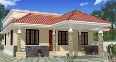 Floor Plan for 70 Sqm House Bungalow. Awesome Floor Plan for 70 Sqm House Bungalow. House Floor Planhouse Floor Plan T Country House Design, Kerala House Design, Simple House Design, House Front Design, Cool House Designs, Roof Design, House Front Porch, Porch House Plans, Bedroom House Plans