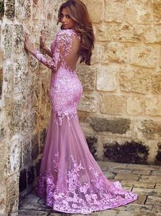 Sexy Mermaid Long Sleeve Round Neck Lace Applique Prom Formal Evening Dress Open Back Formal Gowns