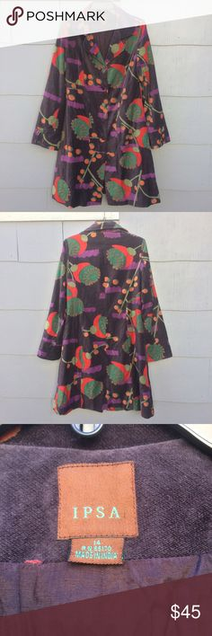 """Anthropologie IPSA Coat of Many Colors Awesome velveteen Boho long coat!  Vintage Anthro.  Fully lined.  Cotton with viscose/rayon lining.  Front button closure.  Covered buttons also line wide slit cuffs.  Measurements laid flat:  armpit to armpit - 20"""".  Length - approx 40"""".  Sleeve - 26"""".  NOTE:  there is a very small hole in the upper right arm (see pic 4).  Priced accordingly. Anthropologie Jackets & Coats"""