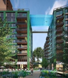 Suspended Glass-Bottomed Pool to be a Swimmable Pathway Between Two Buildings - My Modern Met