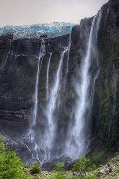 ✮ Argentina - Bariloche - Glacier Castaño Overo spilling water and ice over the cliff on Cerro Tronador