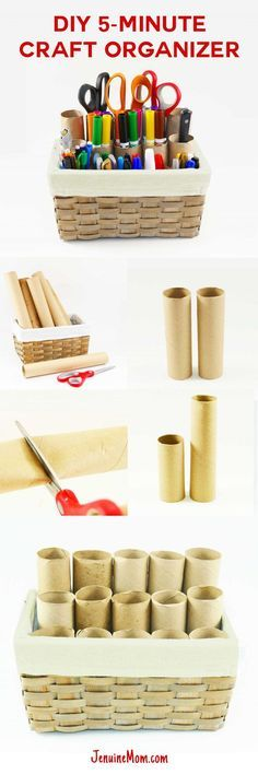 DIY Craft Organizer for Markers Brushes | http://JenuineMom.com