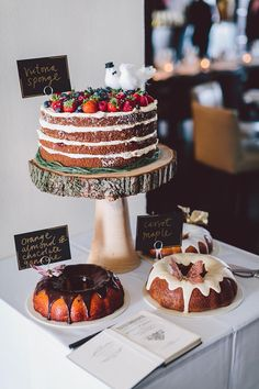 Kind of what I picture for desert table. Main Naked cake with a topper and a few bundts in dif flavors