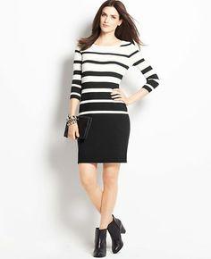 Petite Variegated Stripe Sweater Dress