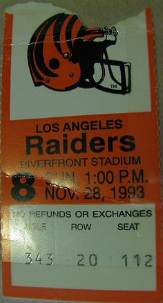 I never went to Riverfront Stadium for a game. This is my cousin Nate's ticket, which he donated to the collection.    According to Pro Football Reference, Doug Pelfrey's three field goals gave the Bengals their first win of the season. (They were 0-10 Buy Cheap Cincinnati Bengals Tickets at Low Prices.  See Why Bengals Fans Shop Here.