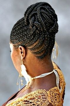 cornrow hairstyles for black women | African Cornrow Braided Bun Hairstyles For Black Hair
