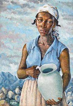 The Water Carrier - Albert Huie (Jamaican) Art And Illustration, Harlem Renaissance Artists, Jamaican Art, Hieronymus Bosch, Black Artwork, Classic Paintings, Post Impressionism, Alphonse Mucha, Afro Art