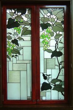Japanese style stained glass panel  Wild Grapes - Glass Studio Tappu