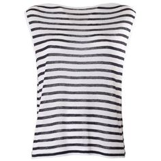 ALEXANDER WANG BY T Striped linen tee ($110) ❤ liked on Polyvore featuring tops, shirts, tank tops, tanks, blue, sleeveless shirts, stripe shirt, boat neck shirt, blue striped tank top and striped boatneck shirt