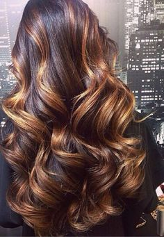Dark Brown Hair with Bold Caramel Highlights ~ Gorgeous!