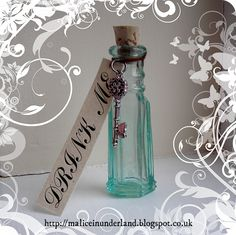 """""""DRINK ME"""" Alice in Wonderland inspired collectable made from (circa rare fancy antique hexagonal poison bottle. With lokta DRINK ME tag and . Gothic Drink Me Bottle Quick Weight Loss Tips, Drink Me, Alice In Wonderland Party, Bottle Design, Aurora, Gothic, Perfume Bottles, Bling, Deviantart"""