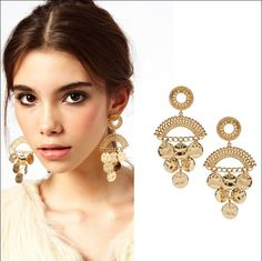 Bohemian New Design Gold Plated Round Drop Coin Dangle Boho Earrings