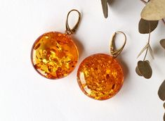 Very large amber earrings, round shape amber earrings, sphere royal amber jewelry, massive natural Baltic amber earrings, gift for her 16.8g by AmberDesign8 on Etsy