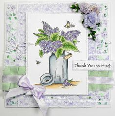 A handmade thank you card that conveys your sentiment with class and beauty!  This pretty card will be displayed every bit as much as the lilacs that inspired it.   Card made using papers from Lilac Blossoms Collection from Nitwit Collections™ #cardmaking