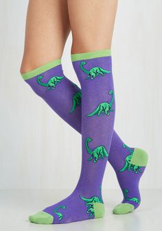 You're Dino-mite! Socks. The colossal coolness of these patterned socks are sure to stand the test of time - just like your style! #blue #modcloth