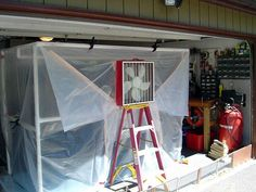 Great instruction to build a portable paint booth out of PVC pipe and plastic. Ventilation with a box fan and A/C filter.