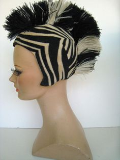 PARAMOUNT PICTURES CORP.- 1920s-30s Chorus Girl- Zebra Cap/Hat w Ostrich Feather
