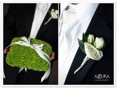 green wedding theme ring bearer pillow