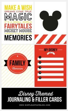 Free Disney Themed Printable Journaling and Filler Cards {Set 2} by Dacia…