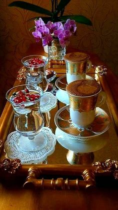 Gorgeous ornate tray with beautiful looking drinks #drinks #pretty Drinks Tray, Punch Bowls, Foods, Coffee, Pretty, Bonjour, Pictures, Food Food, Coffee Cafe