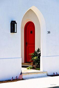 Interesting Red Door in Alys Beach, Florida, Arch Doorway, Entrance Foyer, Entry Doors, Portal, Colour Architecture, Villa, Grades, Unique Doors, Interior Barn Doors