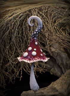 Red white black fantasy mushroom for fairy gardens,pot decor, interior or exterior inhabitant.Elves,gnomes,fairies and of course trolls are his\hers