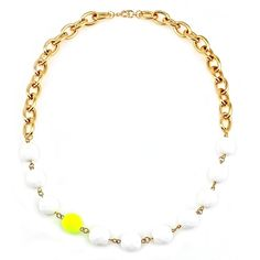 Neon Yellow and White Statement Necklace from Manic Trout Jewelry in Austin, Texas.