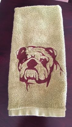 A personal favorite from my Etsy shop https://www.etsy.com/listing/453045292/english-bulldog-embroidered-towel