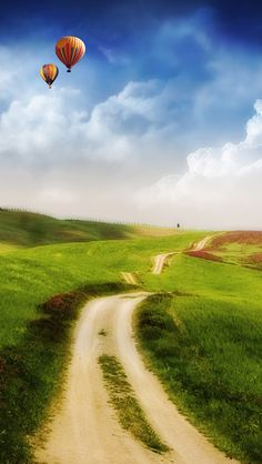 Fantasy Country Road End In Sky Hot Air Balloon Skyscape #iPhone #5s #wallpaper